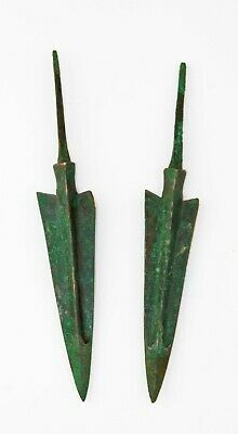 *SC* CHOICE PAIR OF ANCIENT NEAR EAST BRONZE JAVELINS SPEAR POINTS, 2nd mill BC!