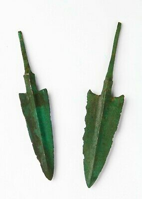 *SC* NICE PAIR OF ANCIENT NEAR EAST BRONZE JAVELIN / SPEAR POINT, 2nd mill BC!
