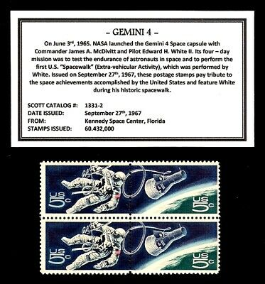 1967 - GEMINI 4- #1331-2 Mint -MNH- Block of Four Postage Stamps