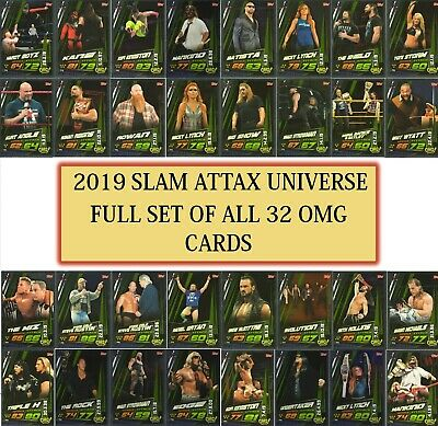 Topps 2019 WWE Slam Attax Universe - FULL SET OF 32 OMG! Cards
