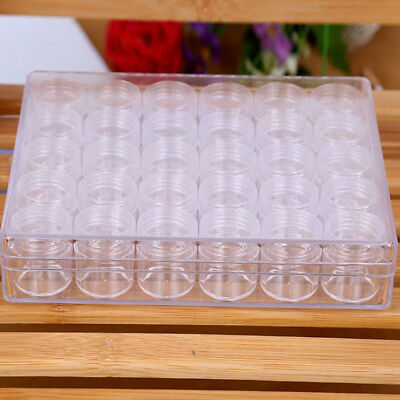 30pcs 6g Rectangle Clear Plastic Jewelry Beads Storage Box Round Container Jars