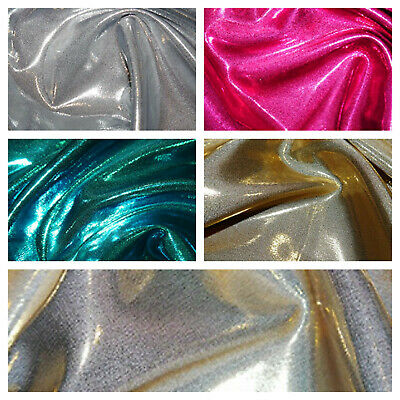 Glass Foil Silky Stretch Satin Dress Craft Fabric Wedding Material 150cm Wide
