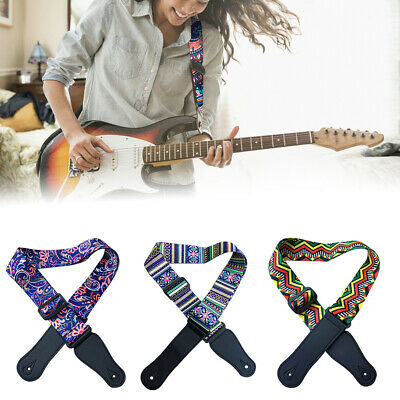 Ln_ 1Pc 64'' Adjustable Guitar Strap Acoustic Bass Webbing Faux Leather Ends S