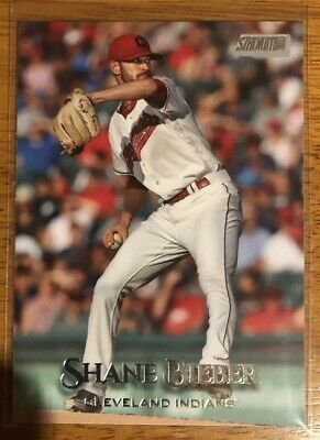 2019 Topps Stadium Club Shane Beiber Justin On Back Error #72 Cleveland Indians