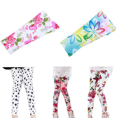 Ln_ Cute Kids Girl Casual Trousers Flower Butterfly Star Print Cotton Leggings