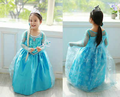 ANNA Girls Princess ELSA Dress Queen Cosplay Costume Grils Fancy Dress&Crown 9