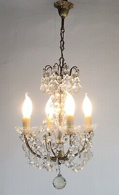 Vintage French Chandelier 4 Arm Petite Crystal Ceiling Light