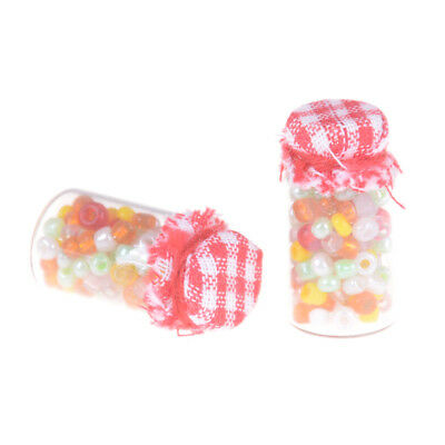 2pcs 1:12 Dollhouse Miniature Glass Candy Canister Mini jar Food Decor HU EP