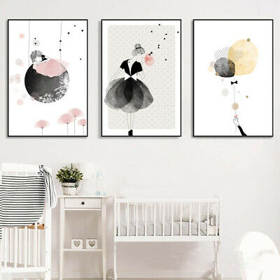 Ln_ Nordic Little Girl Canvas Wall Painting Picture Kids Nursery Room Decor Fa