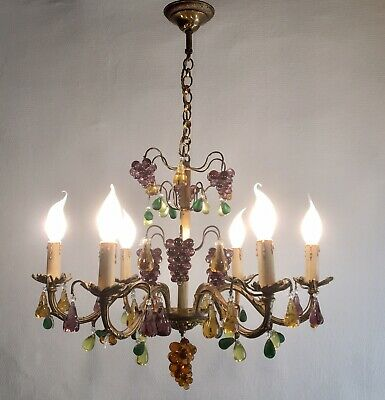Stunning Murano Glass Venetian 6 Arm Chandelier Fruit Ceiling Light