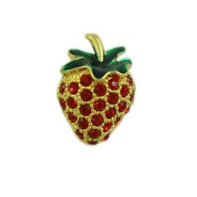 Small Red Crystal Strawberry with Green Enamel Leaf Tac Pin - SPF410