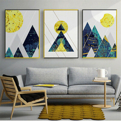 Ln_ Abstract Geometric Moon Forest Night Canvas Wall Art Painting Home Decor S