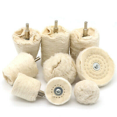 Cotton Cloth Polishing Buffing Mop Wheel 1/4'' Shank For Drilll Grinder Metal