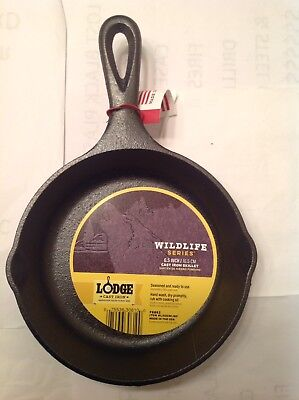 "Lodge Cast Iron 6.5"" Wildlife Series Wolf Skillet Made In The USA"
