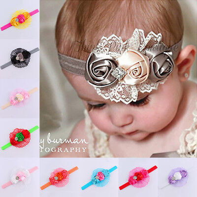 LN_ UK_ Newborn Baby Girls Lace Flower Headband Infant Toddler Hair Band Acces