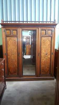 "Edwardian Mahogany & Walnut ""Mackenzie & co"" Mirror Door Wardrobe"