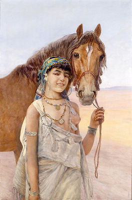 ZWPT188 100% handpainted modern young girl with horse oil painting  Canvas