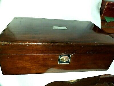 Antique Rosewood  Writing slope . great patina & deep shine. glass ink.bottle