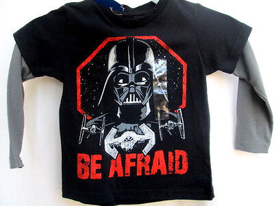 STAR WARS..DARTH VADER..BE AFRAID..LONG SLEEVE..LAYERED..T-SHIRT..TODDLER sz 2