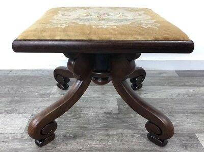 Early 20th Century Foot Stool With Original Chippendale Tapestry Upholstery