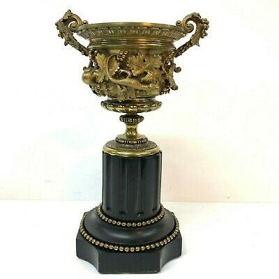 Antique  French Gilt Bronze Urn on Slate Socle 19th century