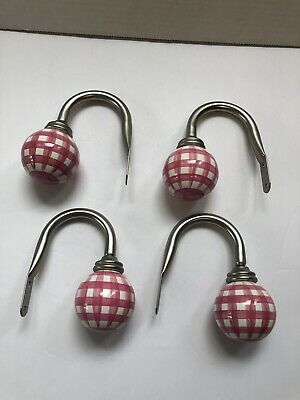 (4) Pottery Barn Curtain Tie Backs Gingham Ceramic Ball Finials Brushed Nickle