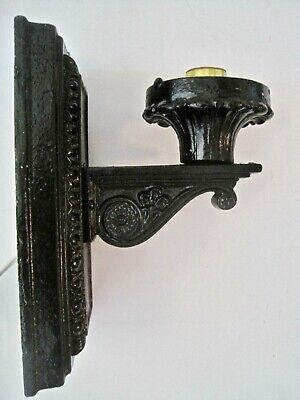 Vintage Antique Heavy Cast Iron Outdoor Porch Light Wall Sconce Light