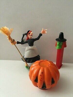 3 Halloween Items Pez Witch, Witch W/Broom & Replacement Glass 4 Pumpkin Lantern