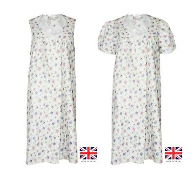 New Ladies Floral Printed Poly Cotton Short Sleeve/Sleeveless Night Dress Nighty
