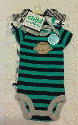 NEW Child of Mine Carters Infant Baby Boy PREEMIE 3 Pack One Piece Bodysuits