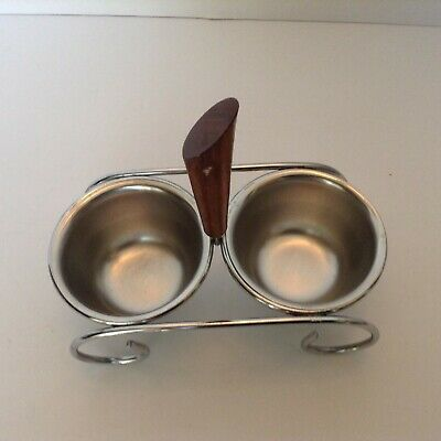 Mid-Century 3 Piece Condiment Serving Set Stainless Steel Wood Handle Retro Cool