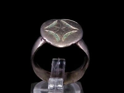 IMPOSING BYZANTINE CHRISTIAN SILVER RING  w/ CROSS ON THE TOP!!!