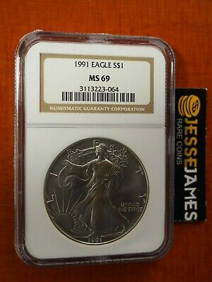 1991 $1 American Silver Eagle Ngc Ms69 Classic Brown Label