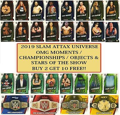 2019 WWE Slam Attax UNIVERSE - Championships Stars Objects OMG Moments
