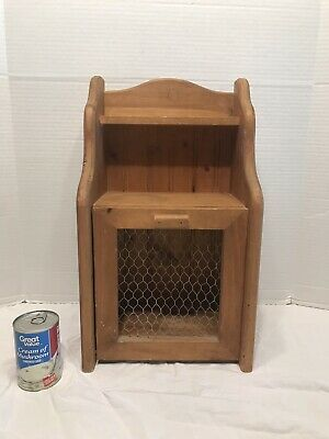 Small Wooden Jelly Cabinet Shelf Country Farmhouse Primitive Chicken Wire Door