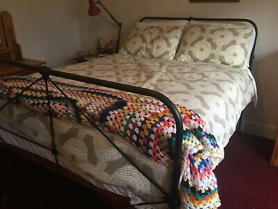 Antique, original, Vintage Cast Iron Double Bed With Mattress With Pillow Top
