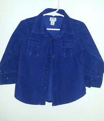 Old Navy Toddler Boys Button-Down Long Sleeve Corduroy Shirt Size 2T, Navy Blue