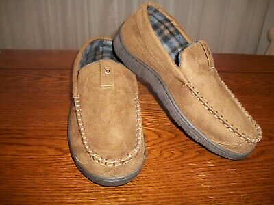 Signature Levi Strauss Brown Venetian Moccasin Slip On Microsuede Slippers 9/10