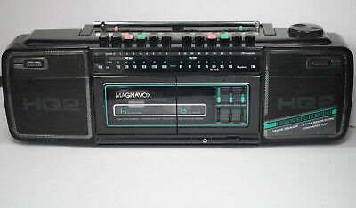 Vintage Magnavox HQ2 Boom Box Dual Cassette Stereo Radio *Tested and Working*