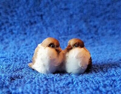 Vintage Miniature Hand Made & Painted Ceramic/Clay Love Birds -2 Attached Birds
