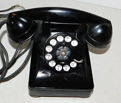 Western Electric Black Rotary Dial Telephone 302 refurbished