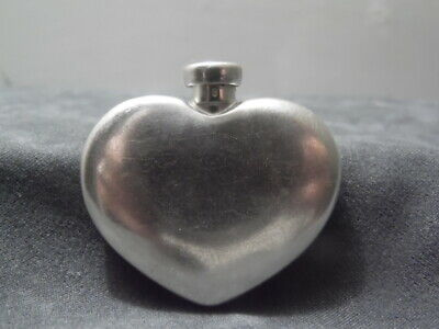 """1930's Art Deco~The Thomae Co.~Sterling Silver~1.5"""" Heart Shaped Perfume Bottle"""