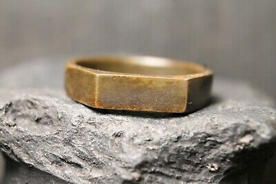 Ancient Bronze Primitive Signet Ring, Archaeological Find, 18th-19th Century AD.