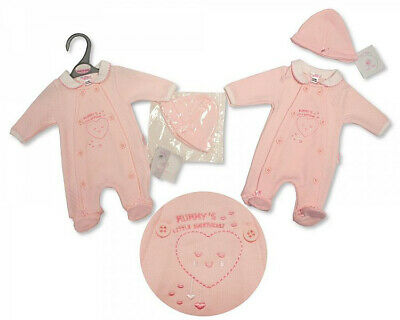 PREM SPANISH STYLE BABY GIRLS ALL-IN-ONE WITH HAT - LITTLE SWEETHEART  3 - 8lbs
