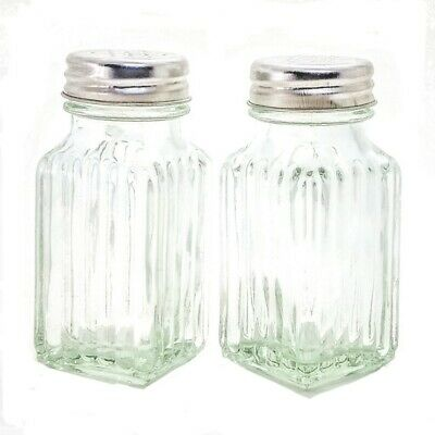 Glass Salt and Pepper Shaker Set Glass with Metal Tops Cooking Concepts