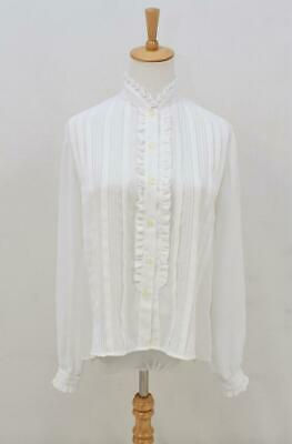 VINTAGE Retro VICTORIAN STYLE Semi Sheer White FRILL Blouse Shirt Top AUS 12 M