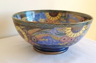 Vintage Art Deco Maling Pottery Lustre Enamels Sunflower pattern Bowl