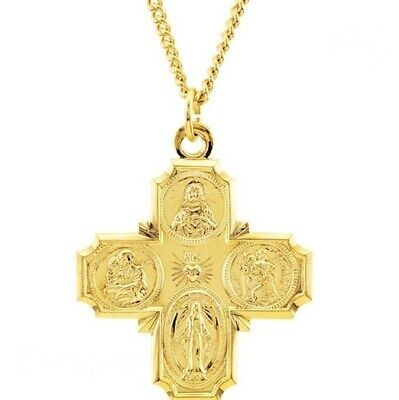 24K Gold Over Sterling 4-Way Catholic Medal Necklace, Similar to Ingraham Cross