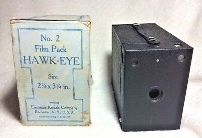 Vintage Kodak No 2 Film Pack black metal HAWK-EYE box camera Carboard Package