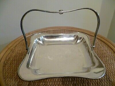 AN ANTIQUE SILVER PLATED CAKE STAND By 'FENTON Bros'. SILVER PLATED BREAD BASKET
